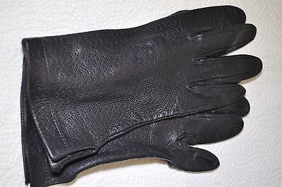 Alte Feine Leder Handschuhe Für Damen Für Schmale Hände (gr. Ca. 7 1/2) Schwarz Bequem Zu Kochen