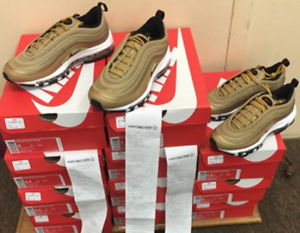 Nike AirMax 97 QS( GS) Metallic gold Varsity Red 918890-700 GS 100%AUTHENTIC