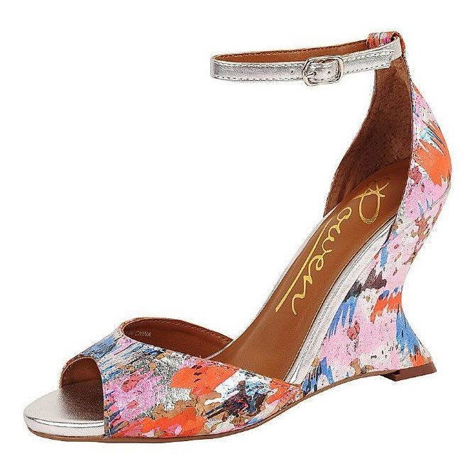 Rowen Sparrow argent Multi Couleur Painted Cork Peep Toe Toe Toe Curved Wedge Sandals 6.5 c86fb0