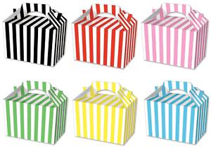 12 Mixte Party Food Cadeau Traiter Boîtes à rayures