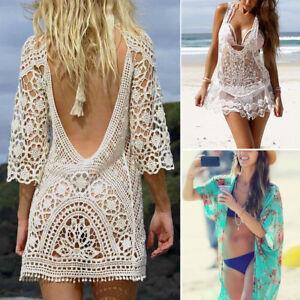 a06af52c309c Women Ladies Bikini Cover Up Bathing Suit Lace Crochet Swimwear ...