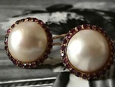 VINTAGE 14CT GOLD RUBY 22MM SALTWATER MABE PEARL EARRINGS FRENCH OMEGA BACKS 346