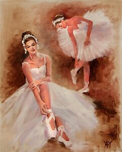 Paris Ballet Dancer Ballerina Girl Dance Music ORIGINAL OIL PAINTING Yary Dluhos