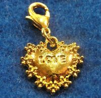 10pcs. Tibetan Gold-plated love Heart W/clasp Charm Zipper Pulls Shoe Tag H25a