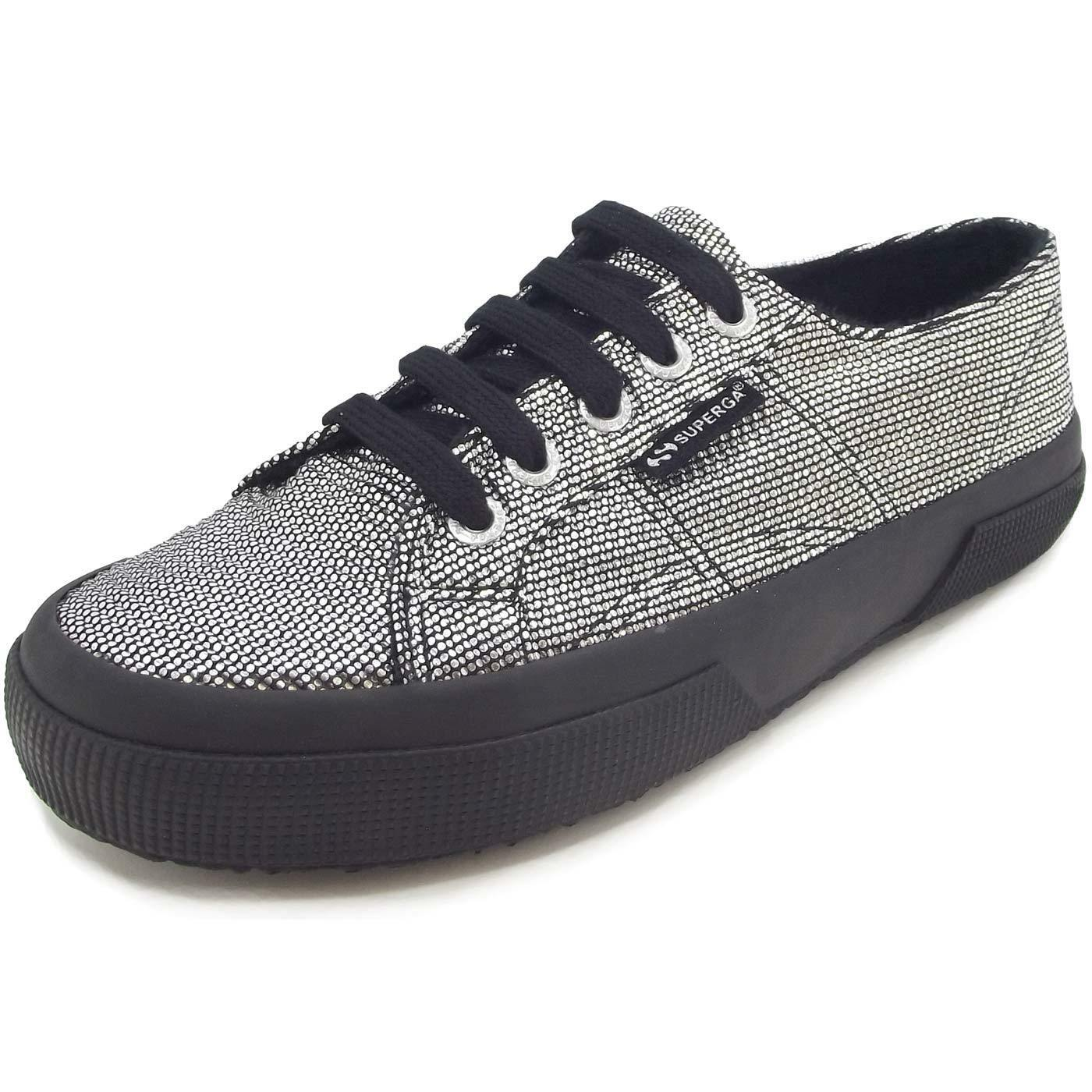 Superga 2750 Plisselamew Damen Sneaker silber/schwarz (Grau silver)
