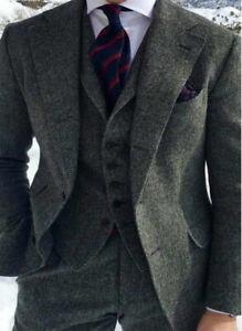 Charcoal-Gray-Vintage-Tweed-Herringbone-Wool-Blend-Groom-Tuxedo-Men-Suit-3-Piece