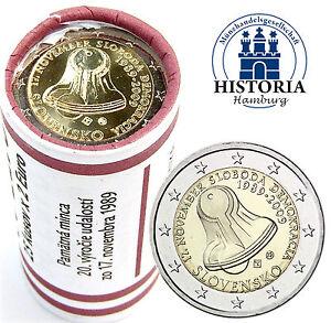 25-x-Slowakei-2-Euro-2009-Glocke-der-Freiheit-und-Demokratie-praegefrisch-in-Roll