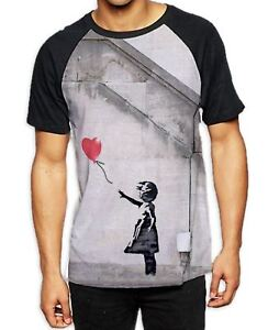 Banksy-Balloon-Girl-Heart-Men-039-s-All-Over-Print-Baseball-T-Shirt-Graffiti-Art