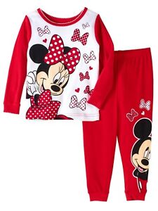 87481ffed4bfe Disney Infant Red Polka Dot Mickey   Minnie Mouse Pajamas Cotton ...