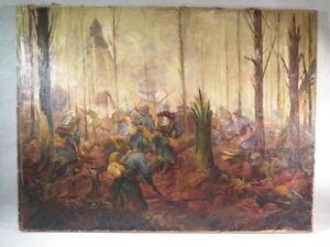 Ancien Tableau Huile Sur Toile Poilus Guerre 1914 1918 Bataille Sous Bois Signe Ebay