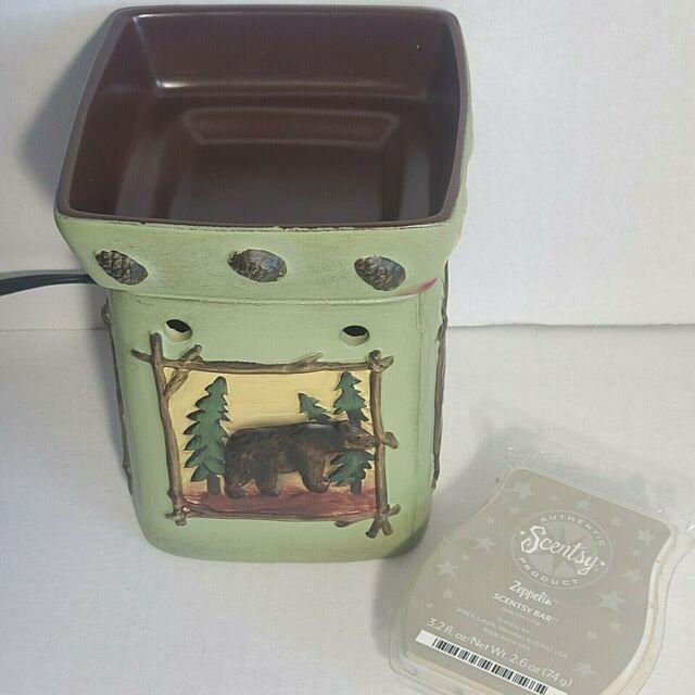Scentsy Full Size Wax Warmer Moose/Trees/Bear/Fish Green w/ Wax DSW-LODG