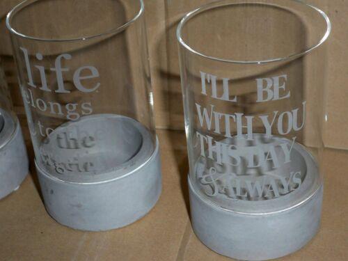 für Teelichter  Stumpenkerzen Beton Glas Impressionen Teelichthalter-Set 3-tlg