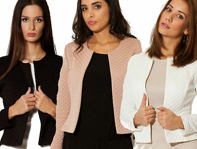 Chic Blazer Bolero Quilted jacket Figure fitting NEW Summer Collection S M 36 38