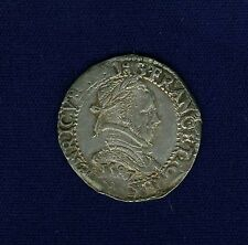 "FRANCE  HENRY III  1587  ""DEMI FRANC AU COL"" SILVER COIN, XF/ALMOST UNCIRCULATED"