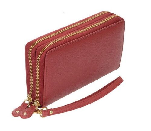 Women/'s Organizer Wallet Genuine Leather Double Zipper Checkbook RFID Security