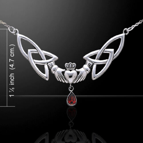 Celtic Knot Triquetra Irish Claddagh .925 Sterling Silver Necklace Peter Stone