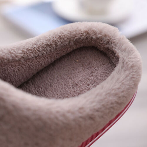 Women Winter Casual Slippers Indoor Mules Plush-Lined Warm House Flat Shoes Size