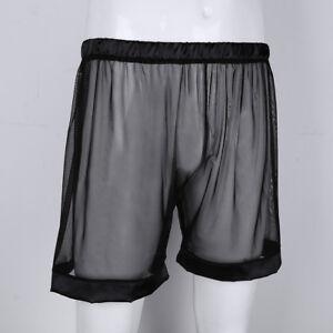 Mens Transparent Mesh Boxer Shorts Sheer Underwear Loose Lounge Pants Nightwear