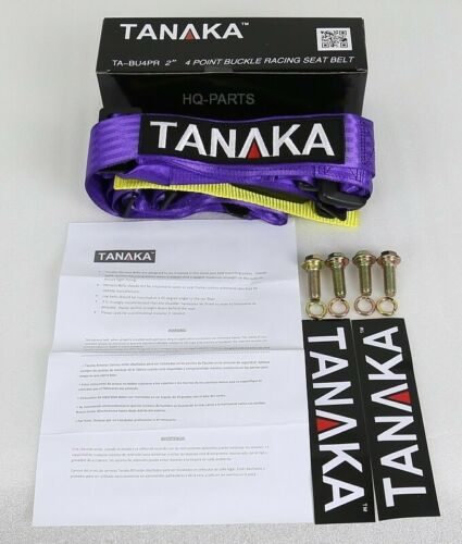 2X TANAKA UNIVERSAL PURPLE 4 PT BUCKLE RACING SEAT BELT HARNESS FITS POLARIS UTV