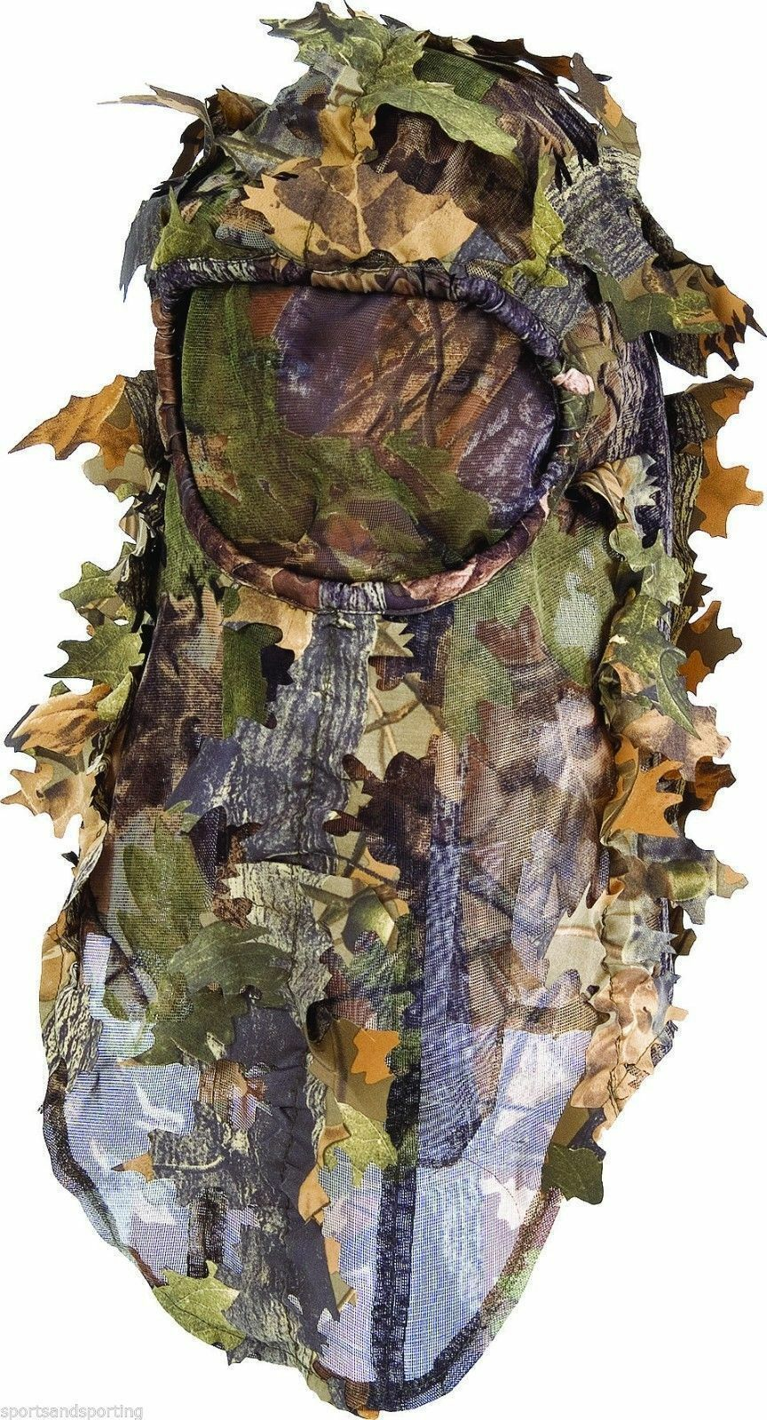 Lightweight 3D Leafy Light Leaf Oak Camo Ghillie Balaclava & Mesh Face Mask Veil