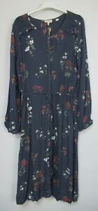 New Womens Fat face Steel Grey Kitty Botanical Floral Midi Dress Uk Size 16