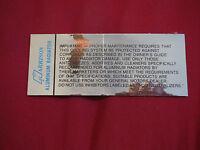 1962 – 1968 Chevrolet Corvette Harrison Radiator Instructions Decal Sticker