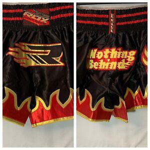 RDX-Muay-Thai-Satin-Shorts-L-Black-Red-Gold-Grappling-MMA-Kickboxing-NWT