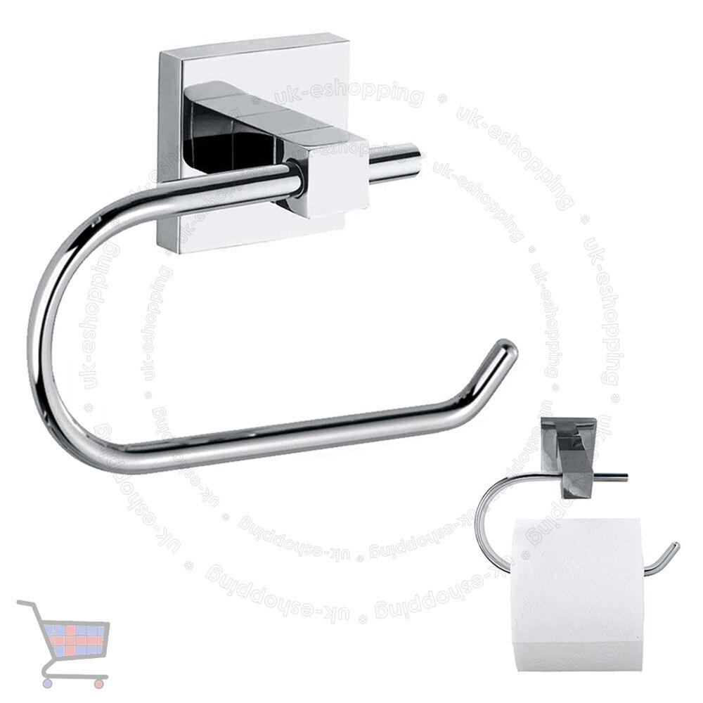 Wall Mounted Square Square Square Polished Chrome Finish Bathroom Toilet Roll Holder UKES 300793