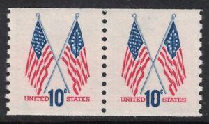Scott-1519-MNH-Bobina-Par-10c-50-Estrella-y-13-Cruzado-Banderas-sin-Usar-Nuevo