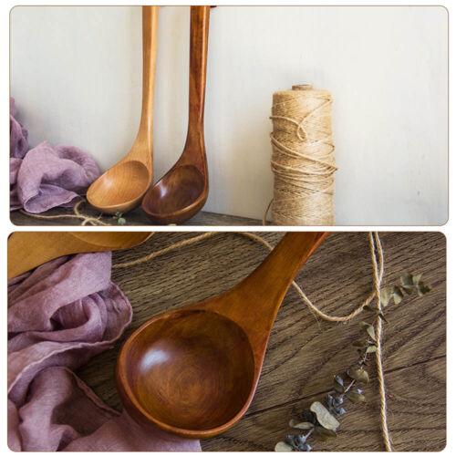 Natural Wooden Spoon Classic Wooden Kitchen Long Handle Soup-ladle #D