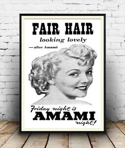 Vintage 50/'s advertising poster reproduction. Amami Fair Hair