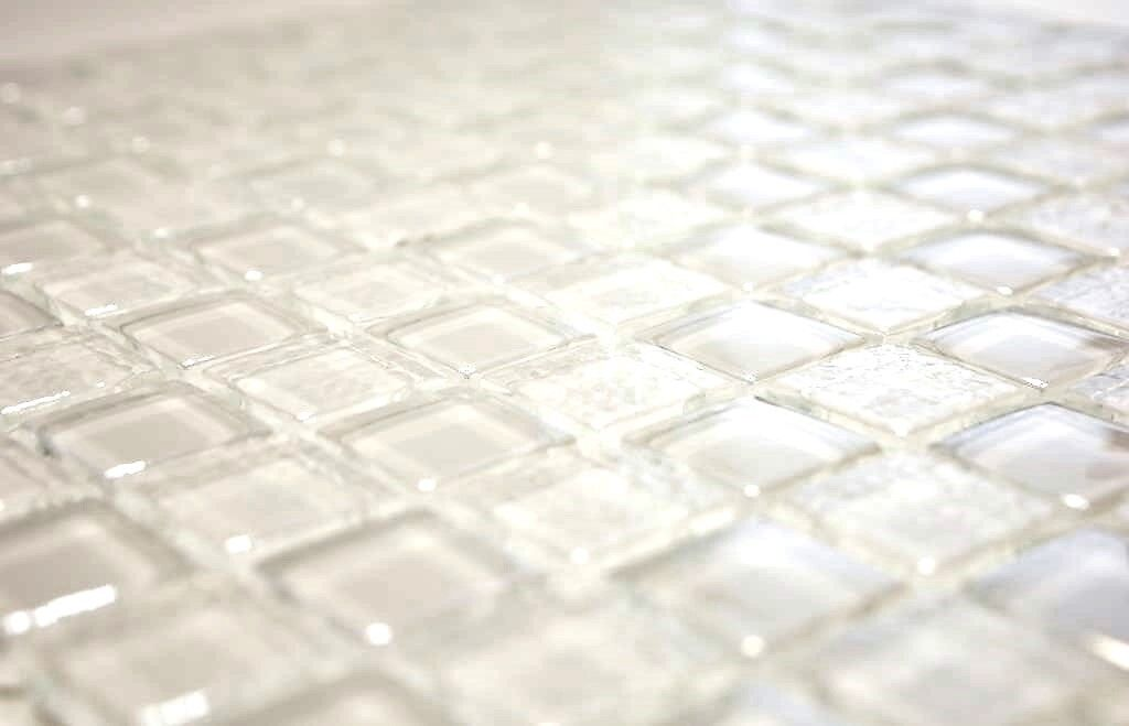 Glasmosaik mix Lüster weiß Fliesenspiegel Küche Wand Art: 88-8LU90       10 Matten 2643ae