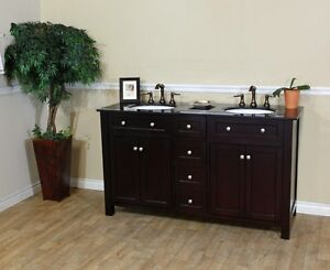 Image Is Loading 62 Inches Black Double Sink Bathroom Vanity Free
