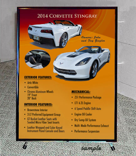 Late Model Car Show Boards YOUR RIDE foreign or domestic