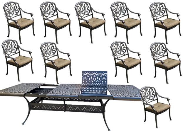 11 piece cast aluminum dining set patio furniture Elisabeth extendable table 132