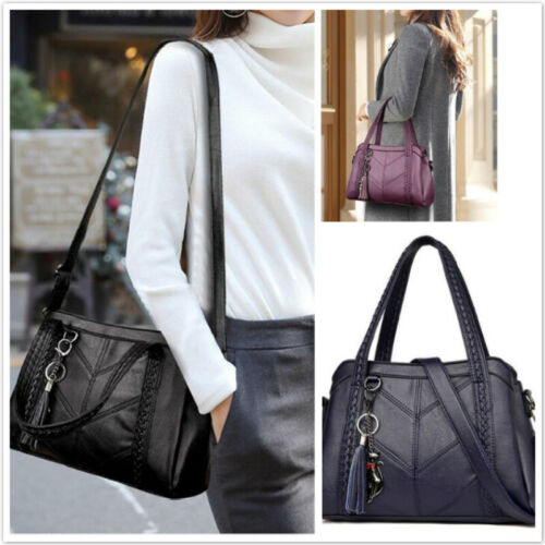 Women Casual Tote Bag Shoulder Bags Crossbody Bags Soft PU Leather Handbag 8C