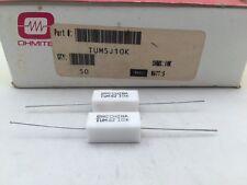 (25 pcs) TUM5J10K Ohmite, 5 Watt 10K Ohm 5%, Cement Filled, Ceramic Resistor