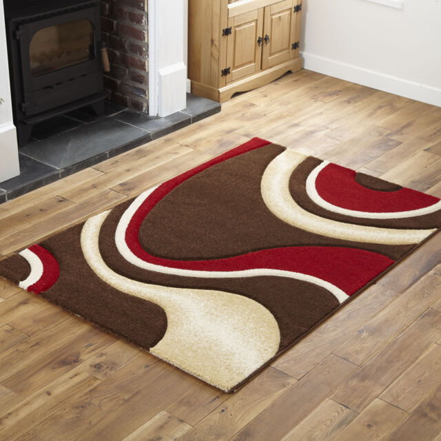 Small 60x120 Cm Brown Red 12mm Thick Modern Rugs Soft Good Quality Wave Area Rug Ebay