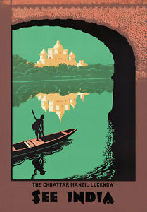 TR14-Vintage-See-India-Indian-Chhattar-Manzil-Lucknow-Travel-Poster-Re-Print-A4