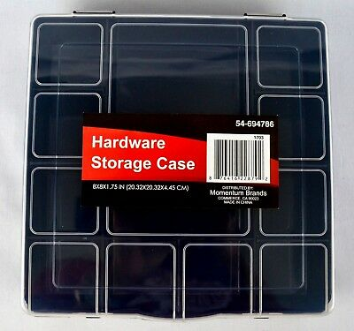 "12 Compartment Case Hardware Craft Parts Storage Box Organizer 8/""x8/""x1.75/"" Black"