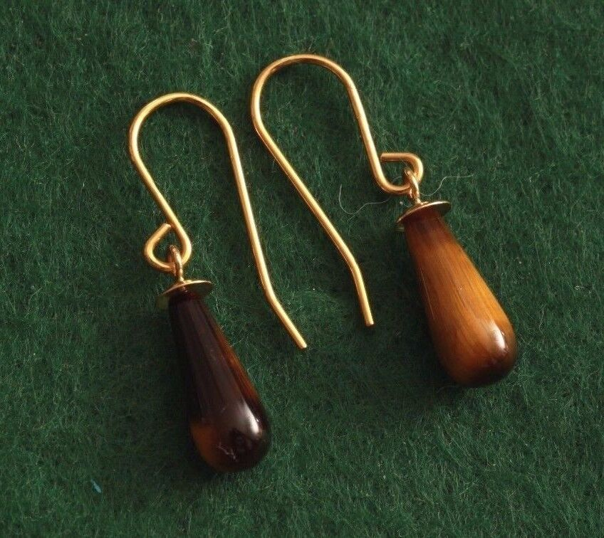 9ct gold drop earrings, Hand made with cats eye drops