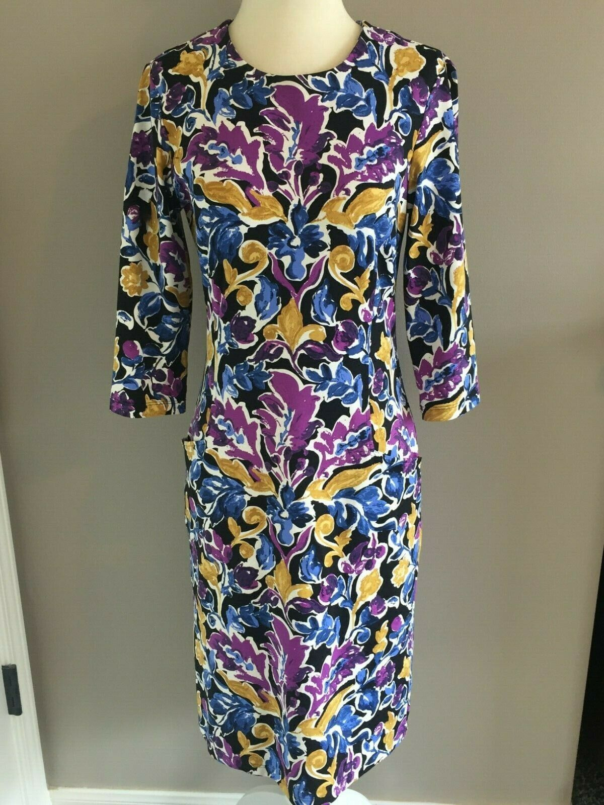 J McLaughlin Size S Purple & bluee Floral Print Dress