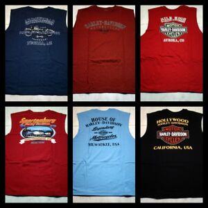 Harley-Davidson-Homme-Sans-Manches-T-shirts-lot-de-6-14-Taille-L-ventes-individuelles