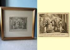 Incisione S Famiglia antic engraving Holy Family Antiken Stich Heiligen Familie