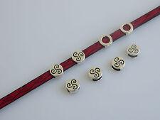 10 x Antique Silver Triskele Triskelion Slider Spacer Beads For 5mm Flat Leather