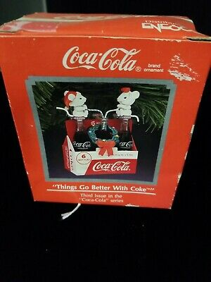 Vtg Coca Cola Enesco Ornament 2 Mice On 6 Pack Things Go Better With Coke 1991
