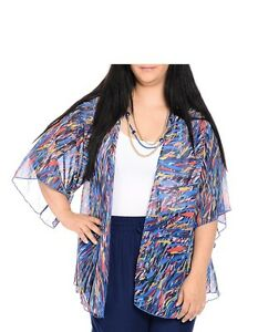 Women's Soho Abstract Kimono Cardigan Shawl Wrap Top, Blue, Sizes ...