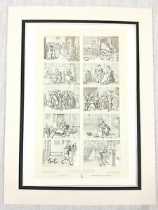 1888-Antico-Stampa-Olandese-Fiammingo-Interno-Scena-Holland-Olanda-17th-Secolo