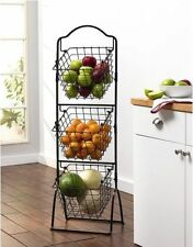 Captivating Wire Storage Basket Bins Shelving 3 Tier Rack Organizer Fruit Stand  Vegetable
