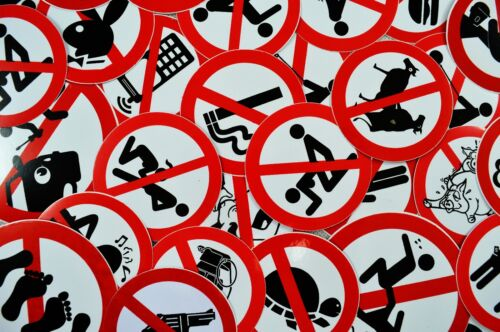 Superb Job Lot of 20 Funny//Rude Warning//Not Permitted Stickers//Decals//Signs